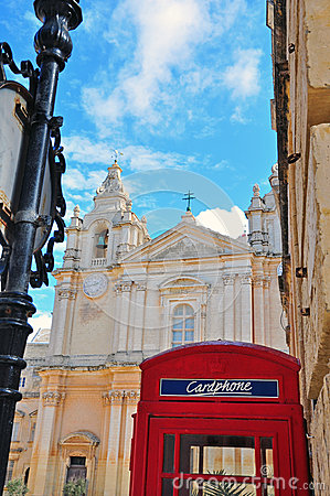 Telephone booth and cathedral of Mdina