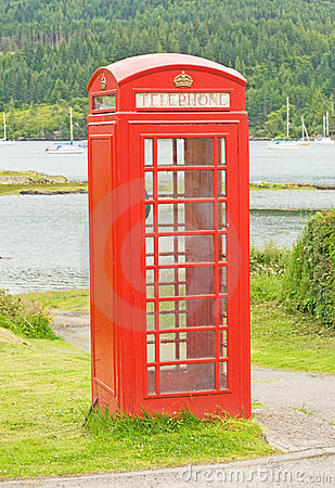 Telephone box by the sea.
