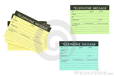 Telephone message note