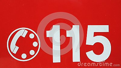 Telephone number 115 on red background of the fire brigade in It