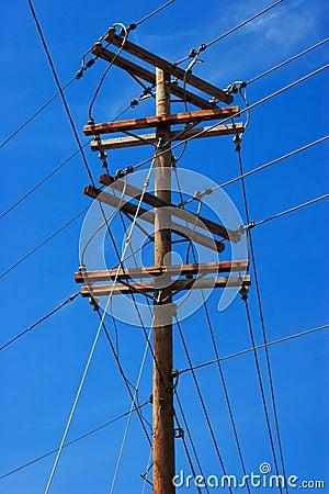 Free Telephone Pole On Blue Sky Royalty Free Stock Image - 4592586
