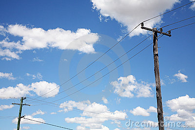 Telephone poles with wires