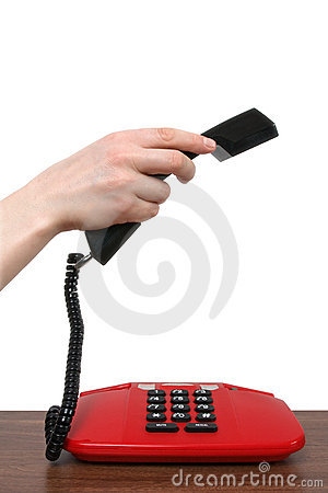 Telephone receiver in a female hand