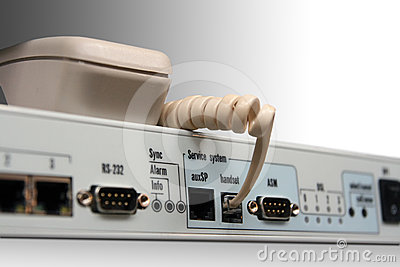 Telephone socket on the network device.