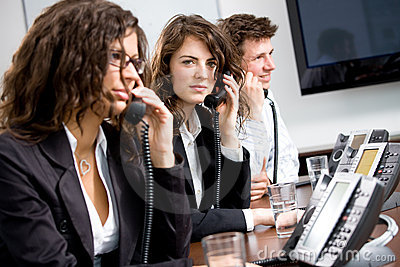 Telephone workers at office