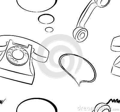 Telephones Seamless Pattern Background
