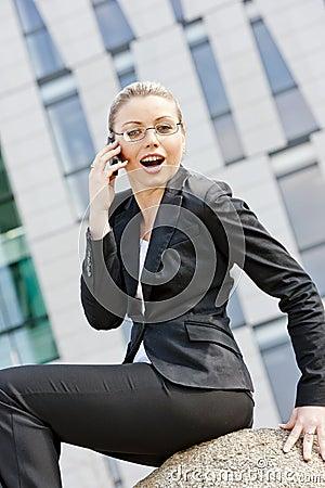Telephoning businesswoman