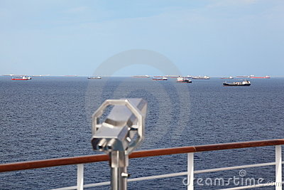Telescope on deck of cruise ship in out of focus