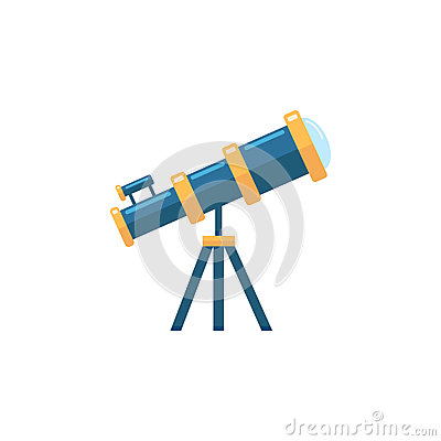 Telescope flat icon, Education and astronomy Vector Illustration