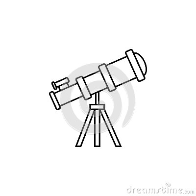 Telescope line icon, Education and astronomy Vector Illustration