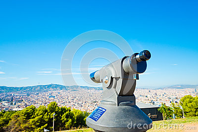 Telescope look at the city Barcelona