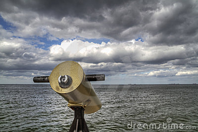 Telescope on the sea coast
