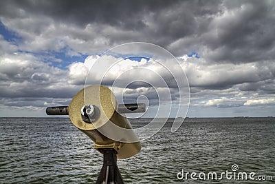 Telescope on the sea coast