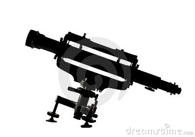 Telescope silhouette on white