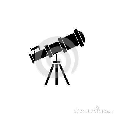 Telescope solid icon, Education and astronomy Vector Illustration