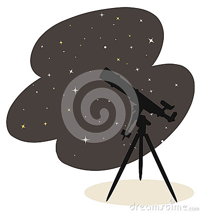 Telescope and stars vector