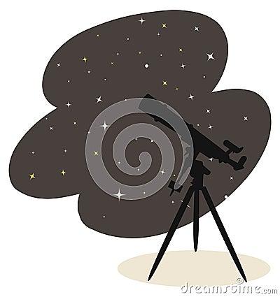 Telescope and stars vector