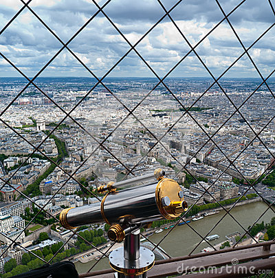 Telescope for tourists on Eiffel tower