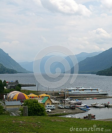 Teletskoye lake and dock. The Altai Mountains