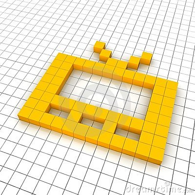 Television 3d icon in grid