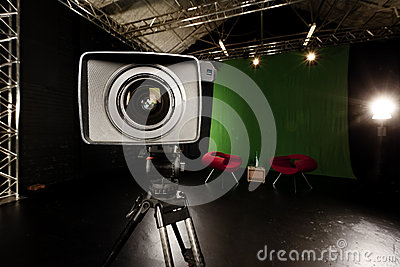 Television Camera Lens in Green screen studio