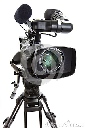Television Camera on Tripod against white background