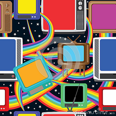 Television Fun Bring Colors Seamless Pattern_eps