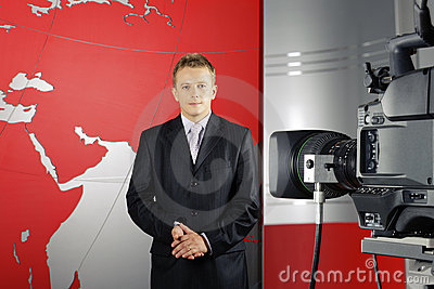 Television news reporter and video camera Editorial Photo