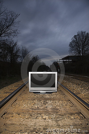 Free Television On Train Tracks. Stock Images - 2431274