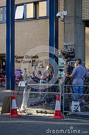 Television reporter at Royal hospital Editorial Image