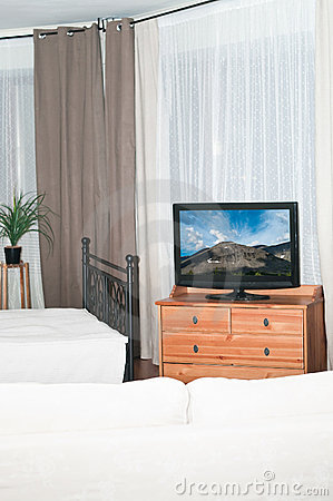 Television set in bedroom