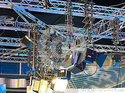 Television studio light equipment, spotlight truss, cables,  mic