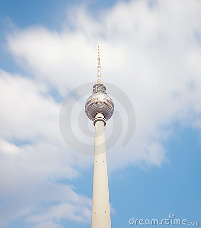 Television tower in berlin mitte with blue sky
