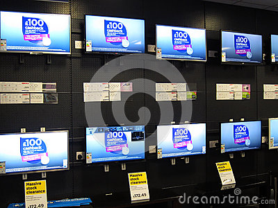 Televisions on display for sale in a store. Editorial Image