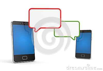 Teléfono móvil con la burbuja del discurso