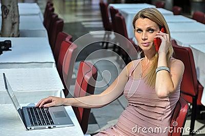 Teléfono y ordenador portátil elegantes de la mujer