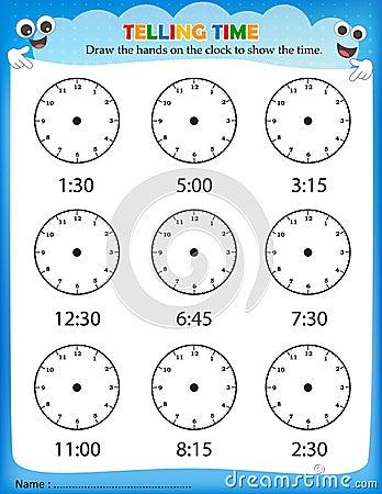 telling time worksheet stock vector image 50725986. Black Bedroom Furniture Sets. Home Design Ideas