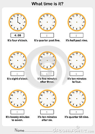 Telling Time Worksheet Stock Vector - Image: 50725986