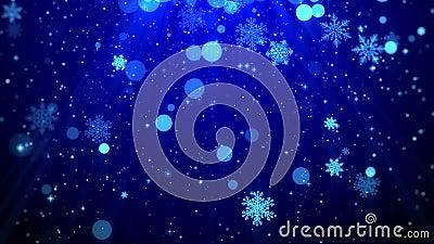 Temat för blått för längd i fot räknat för diagram för julbakgrundsrörelse, med blänka ljus för partikelsnöflingaför falla och sk vektor illustrationer