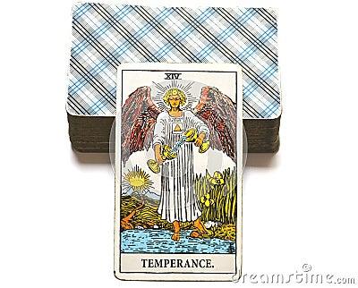 Temperance Tarot Card healing harmony adaptability Stock Photo