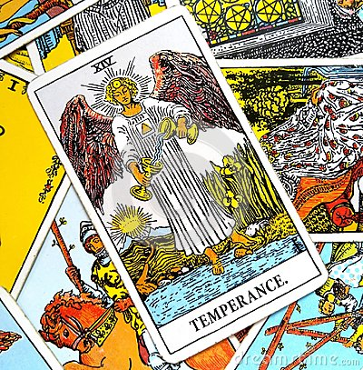 Temperance Tarot Card healing harmony adaptability Stock Photo
