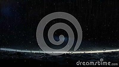 Tempesta nell'oceano al metraggio di notte archivi video