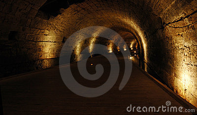 Templar tunnel at Acre -famous landmark,Israel