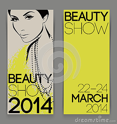 Template with attractive female for advertising flyer of beauty