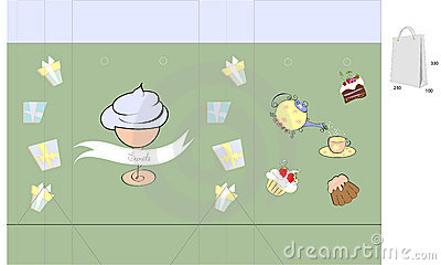 Template for bag with sweets