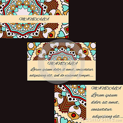 Template business cards with oriental pattern and geometric circle element. Vector Illustration