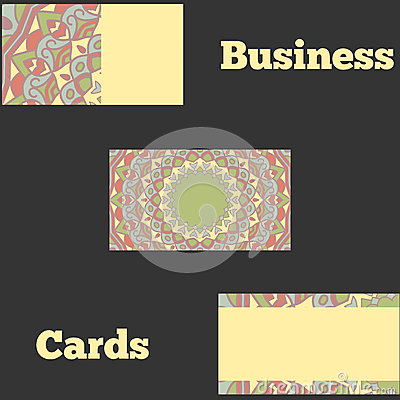 Template business cards with oriental pattern Vector Illustration