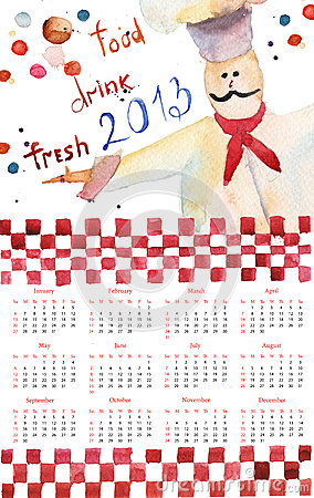 Template for calendar for 2013
