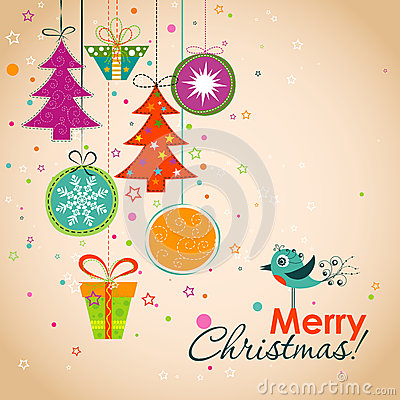 Free Template Christmas Greeting Card, Ribbon, Vector Stock Photo - 43181850