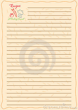 Template design for a recipe book